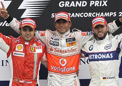 Lewis Hamilton, Felipe Massa and Nick Heidfeld on the Podium at the Belgian Grand Prix