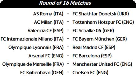 UCL 2011 Fixtures