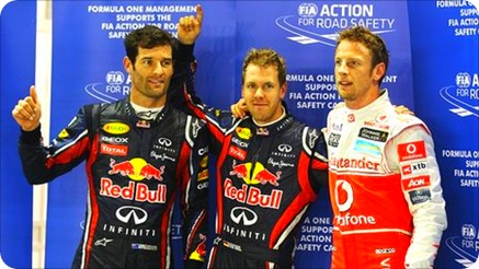 Vettel, Webber & Button - Singapore Grand Prix Qualifying